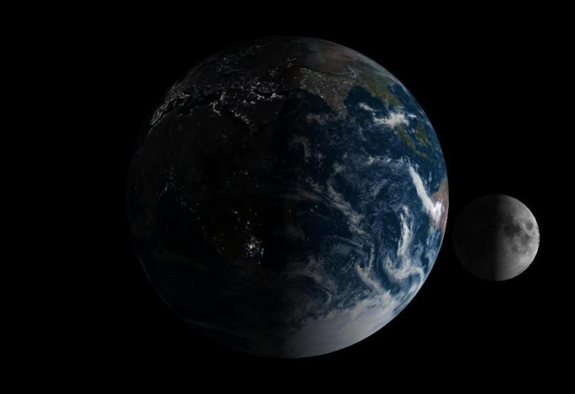 a terra com lua crescente