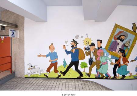 Métro Stockel - fresque Tintin